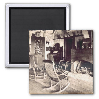 Interior of an American wooden shack, c.1880s (pho 2 Inch Square Magnet