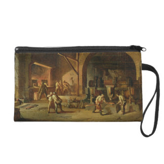 Interior of an Ironworks, 1850 (oil on canvas) Wristlet Purses