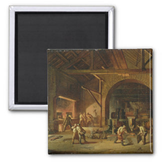 Interior of an Ironworks, 1850 (oil on canvas) 2 Inch Square Magnet