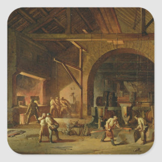 Interior of an Ironworks, 1850 (oil on canvas) Square Sticker