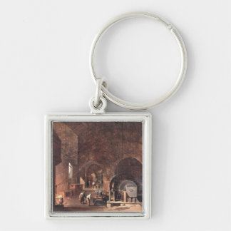 Interior of an Ironworks, c.1850-60 (oil on canvas Keychain