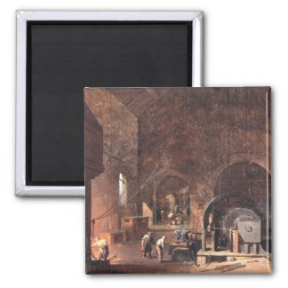 Interior of an Ironworks, c.1850-60 (oil on canvas 2 Inch Square Magnet