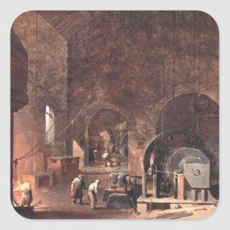 Interior of an Ironworks, c.1850-60 (oil on canvas Square Sticker