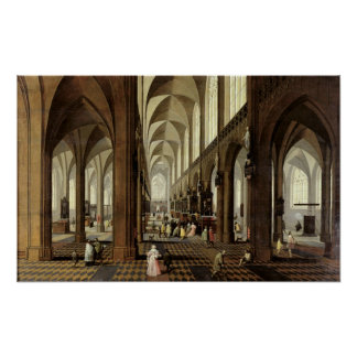 Interior of Antwerp Cathedral, c.1650 Poster