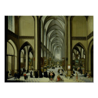 Interior of Antwerp cathedral Poster