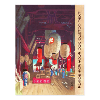 Interior of Asakusa Kannon Temple Narazaki Eisho Postcards