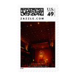 Interior of Buddha Tooth Relic Temple and Postage Stamps