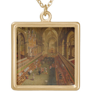 Interior of Canterbury Cathedral, c.1675-1700 (oil Gold Plated Necklace