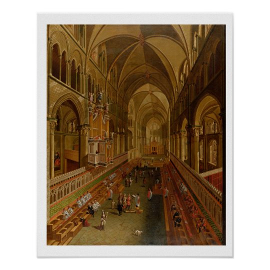 Interior of Canterbury Cathedral, c.1675-1700 (oil Poster