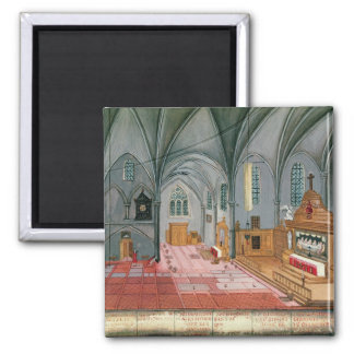 Interior of Church, from 'L'Abbaye de 2 Inch Square Magnet