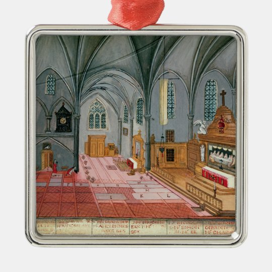 Interior of Church, from 'L'Abbaye de Metal Ornament