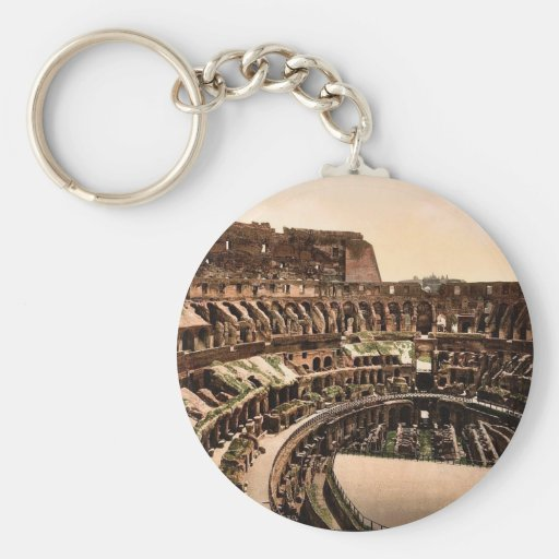 Interior of Coliseum, Rome, Italy vintage Photochr Keychains