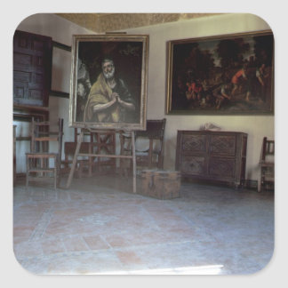 Interior of El Greco s studio Square Stickers