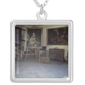 Interior of El Greco's  studio Silver Plated Necklace