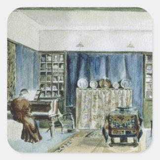 Interior of Kelmscott Manor (w/c on paper) Square Sticker