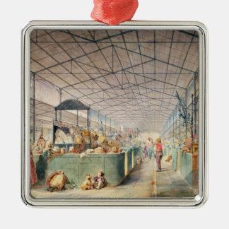 Interior of Les Halles, 1835 Square Metal Christmas Ornament