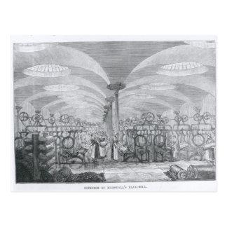 Interior of Marshall's Flax-Mill Postcard