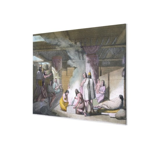 Interior of Nootka tribe cabin, from 'Le Costume A Canvas Print