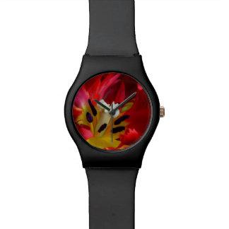 Interior of parrot tulip flower wristwatch