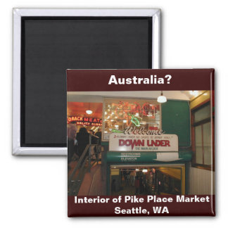Interior of Pike Place Market Seattle, WA 2 Inch Square Magnet