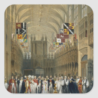 Interior of St George's Chapel, 1838 (colour litho Square Stickers