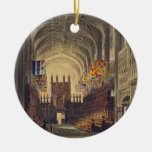 Interior of St. George's Chapel, Windsor Castle, f Double-Sided Ceramic Round Christmas Ornament