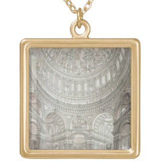 Interior of St.Paul's Cathedral, 1817 Gold Plated Necklace