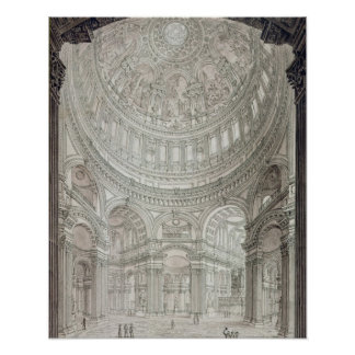 Interior of St.Paul's Cathedral, 1817 Poster