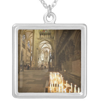 Interior of St. Peter's Cathedral in Regensburg Square Pendant Necklace