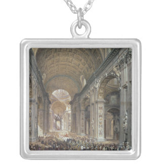 Interior of St. Peter's, Rome, 1867 Square Pendant Necklace