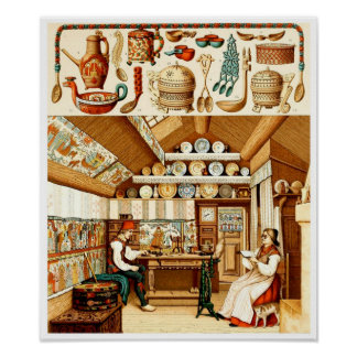 Interior of Swedish House (furniture and cookware) Poster