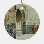 Interior of the Alhambra, Granada (w/c) Double-Sided Ceramic Round Christmas Ornament
