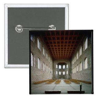 Interior of the basilica, early 4th century AD 2 Inch Square Button