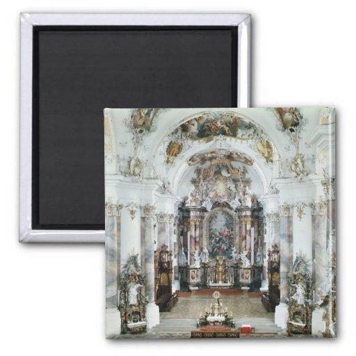 Interior of the benedictine abbey church 2 inch square magnet
