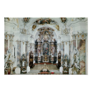 Interior of the benedictine abbey church poster