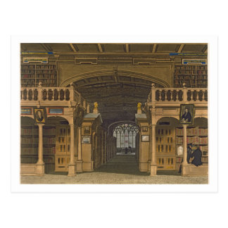 Interior of the Bodleian Library, illustration fro Postcard