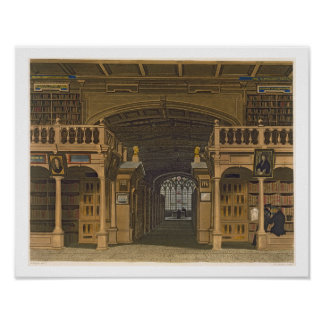 Interior of the Bodleian Library, illustration fro Poster
