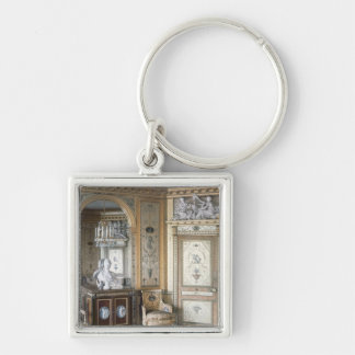 Interior of the boudoir of Marie Antoinette Silver-Colored Square Keychain