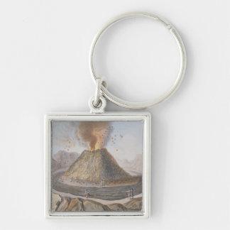 Interior of the Cone of Vesuvius Before the 1767 E Silver-Colored Square Keychain