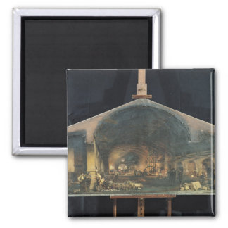 Interior of the Forge at Fourchambault 2 Inch Square Magnet