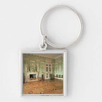 Interior of the Green Dining Room Silver-Colored Square Keychain