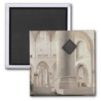 Interior of the Grote Kerk, Amsterdam, c.1637 2 Inch Square Magnet