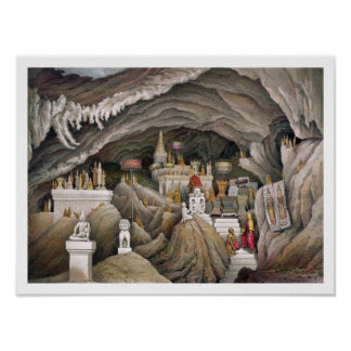 Interior of the grotto of Nam Hou, Laos, from 'Atl Poster