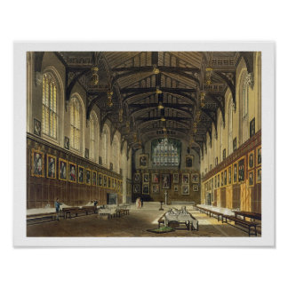 Interior of the Hall of Christ Church, illustratio Poster
