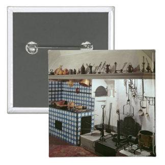 Interior of the kitchen of the Hotel de Cabris Pinback Button