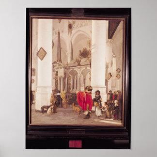 Interior of the Nieuwe Kerk, Delft, 1656 Poster