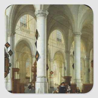 Interior of the Oude Kerk in Delft Square Sticker