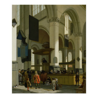 Interior of the Oude Kerk Poster