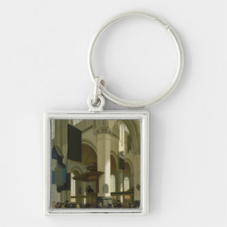 Interior of the Oude Kerk Silver-Colored Square Keychain