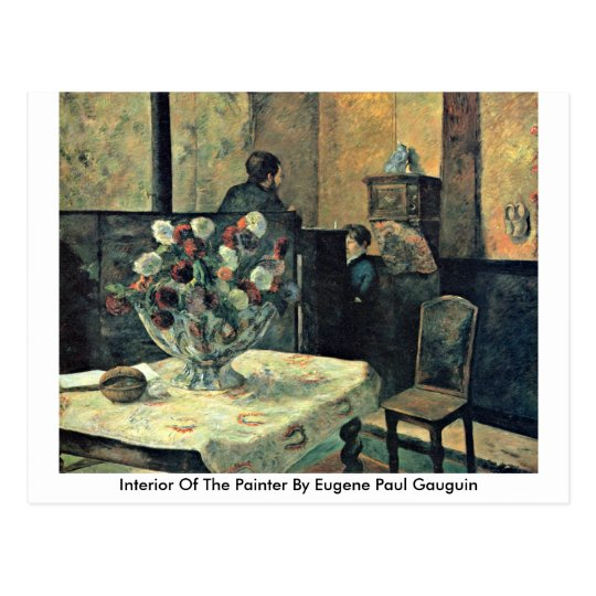 Interior Of The Painter By Eugene Paul Gauguin Postcard